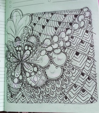 A zentangle-inspired drawing on colored background!