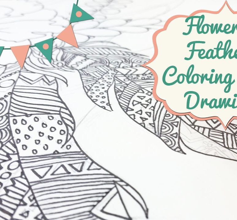 Flower & Feathers Coloring Page Drawing