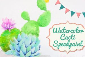 Watercolor Cacti Speed Painting