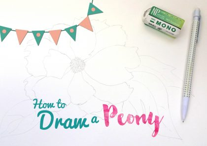 how to draw a peony watercolor flower