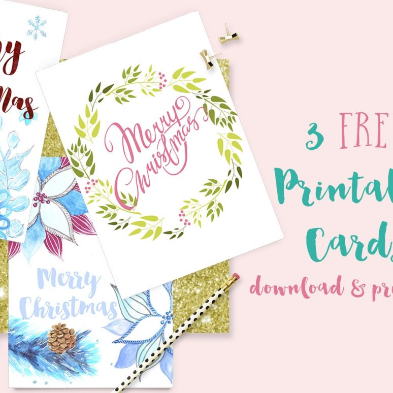 3 Free Printable Christmas Cards!