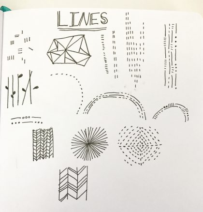 collection of lines in a sketchbook