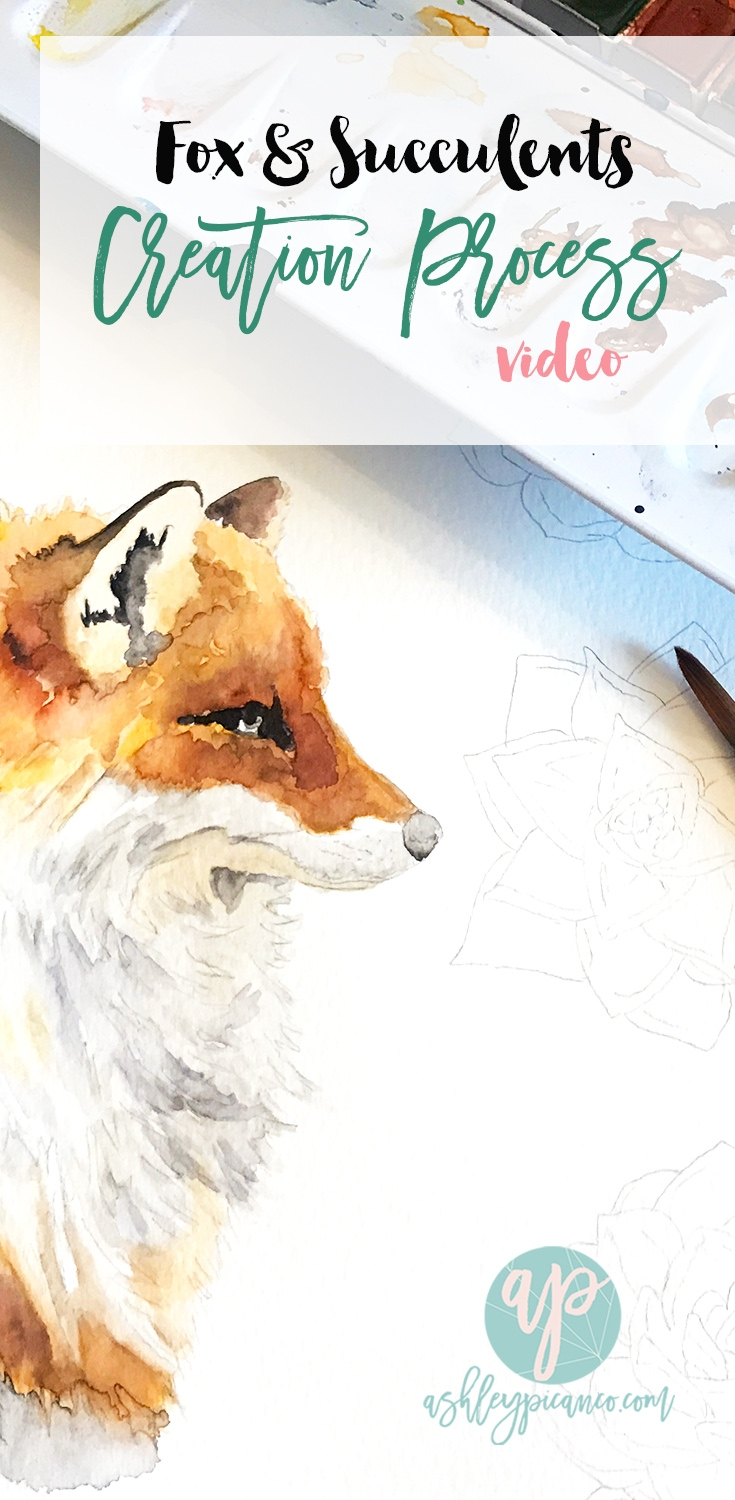 fox and succulents watercolor creation process video