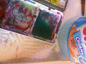 I've got my chosen colour all ready to go.  Make sure you have enough watercolor in your pan. You don't want to have to remix your colour halfway through. You will not have a good time.