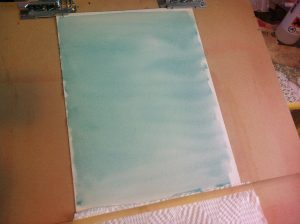 Here it is after both watercolour coats. Now if you like this you can leave it propped up to fully dry...