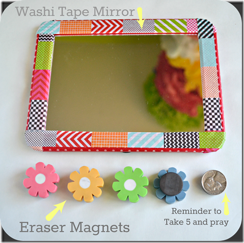 This simple cheap locker mirror is jazzed up with some cute Washi Tape, and magnets are glued to the back of these cute flower erasers.  This would be so cute on a locker door.