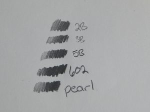 I then did a comparison with my Prismacolour turquoise art pencils.  You can see the various softnesses of the pencils, along with the pearl and 602.  It was this comparison that really made me notice how creamy and silk-like the blackwings feel! The regular art pencils felt much more dry and,well, pencil-like going down, but both blackwings felt much softer and smoother.
