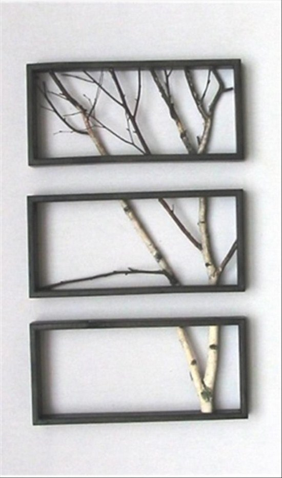 These birch branches look gorgeous in separate stacked frames...you could also separate them horizontally and have them more spread out so they look like a small tree.