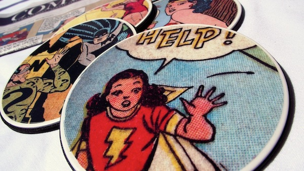 And if you're looking for a coaster set for a guy, or just something a little less girly, these comic book page coasters are awesome!