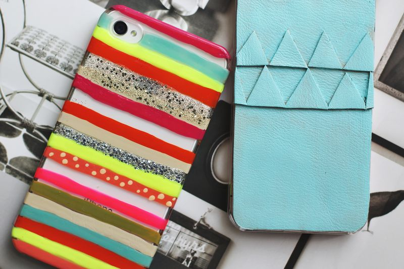 If you know your friend's favourite colours or geometric patterns you can make them their own unique, one-of-a-kind custom iphone case using cheap clear cases and some nail polish or leather fabric.