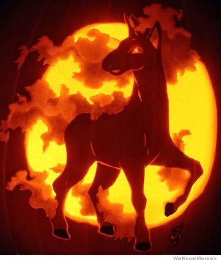 ....unless you want to make something as EPIC AS THIS GLORIOUS CARVING.  Rapidash in all her glory.  Holy crap this is incredible!!!!  My carving skills are no where near this good, I'll stick to the cutesy-looking pokemon for myself, but damn this is one awesome pumpkin.