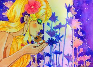 """My mixed media drawing """"Spring"""" uses Souffle Pens to outline the background flowers"""