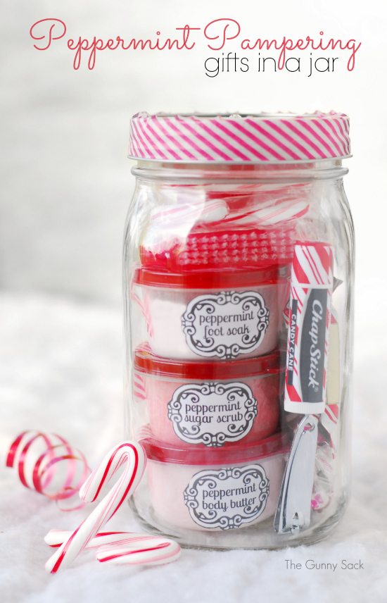This collection of bath items is so cute, and such a thoughtful homemade gift.  The linked webpage even has recipes for different bath scrubs, etc. if you want to go all-out with making this one by hand.