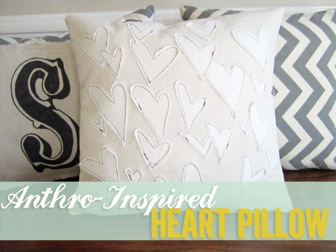 This pillow is adorable, and the doodle nature of the hearts lends itself to swapping out hearts for other doodles like flowers, clouds, suns,moons, whatever your heart desires!