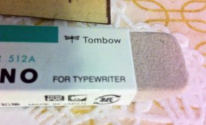 "I was intrigued by the ""for typewriter"" label on the eraser.  The Tombow website states that this eraser can erase pen and ink, including some marker."